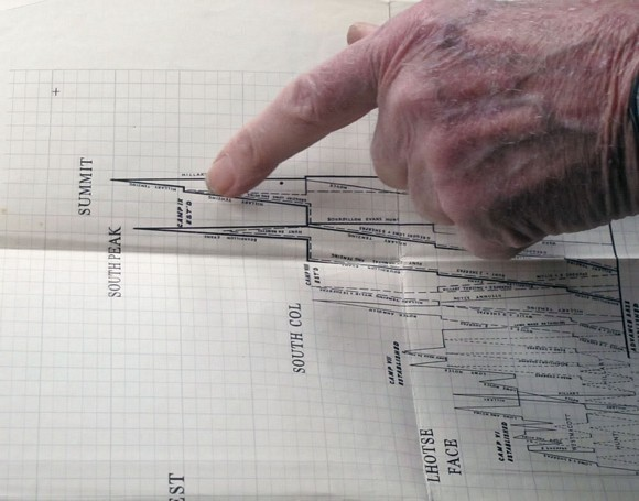 Band pointing out the original 1953 assault chart