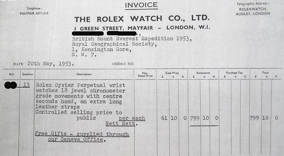 Rolex invoice for 13 watches